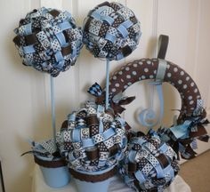 Ribbon Topiary in Chocolate Browns & Blues for by DaisyTags, $36.00