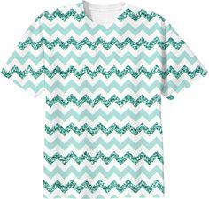 Chevron Glitter Aqua tshirt from Print All Over Me