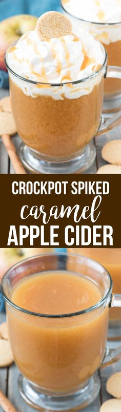 Spiked Crockpot Caramel Apple Cider - Make caramel apple cider in the slow cooker for a warm drink that is perfect for a crowd. Then spike it with vanilla vodka for the adults! This is everyone's favorite fall cocktail recipe. via @crazyforcrust