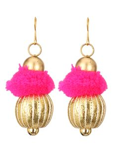 Gota Patti & Pink Pom-Pom Earrings #ekatrra #fashion #luxury #earring for #women #indiandesigner #designer #Womenwearing #accessories #kundan #Womenwear #onlineshopping #Couture #Follow #Traditional Shop Now: http://bit.ly/1jNroPj