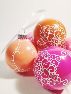 A different color Christmas! (Part 2) Citrus Orange and Pink by Alison on Etsy