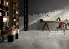 Large format tiles with cement look + artsy hex tile play. Unique way to style your study room. Hex Tile, Tile Art, Wall Tiles, Large Floor Tiles, Tile Floor, Minimalist Room, Minimalist Interior, Large Format Tile, Style Tile