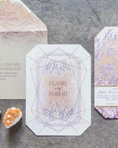 geometric inspired invitation - photo by Laura Kelly Photography http://ruffledblog.com/industrial-bohemian-geode-wedding #weddinginvitations