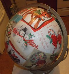 christmas globe  made with real vintage  greeting cards