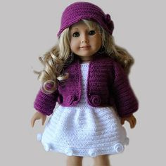 PDF Crochet Pattern - American Girl Doll Clothes 24 - Jacket, dress and hat. $5.00, via Etsy.