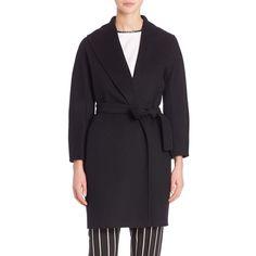Max Mara Zampa Doppio Virgin Wool Wrap Coat ($1,115) ❤ liked on Polyvore featuring outerwear, coats, apparel & accessories, black, tie belt, shawl coat, wrap shawl, shawl wrap coat and maxmara coat