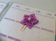 Lilac Paper Clip Flower paper clip Ribbon clip by LilsShabbyShop