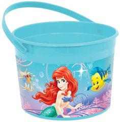"Disney Ariel Favor Bucket Includes (1) themed favor bucket. Bucket is made of plastic and measures 4.75"" high x 7"" wide. Weight (lbs) 0.13 Length (inches) 6.25 Width (inches) 6.5 Height(inches) 4.75"