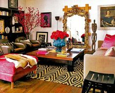 Eclectic decor. Love the rug pattern for artwork!!