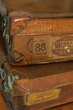 Vintage French Suitcases by david david studio Old Trunks, Vintage Trunks, Trunks And Chests, Antique Trunks, Vintage Suitcases, Vintage Luggage, Vintage Travel, Love Vintage, French Vintage