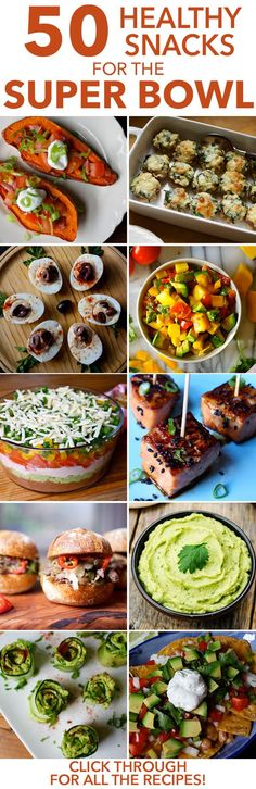 Here are 50 healthy recipes to help you get through Super Bowl Sunday without totally sacking your fitness goals. // snacks // food // nutrition // football // cheats and treats // party ideas // vegetarian // high protein // dips // salsa // pizzas // desserts // chili // beachbody // beachbody blog