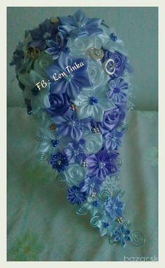 Previsnute svadobné saténové kytice