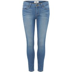 Paige Denim Verdugo Crop Mid Rise Ultra Skinny Jean - Halstead ($130) ❤ liked on Polyvore featuring jeans, pants, bottoms, halstead, stretch blue jeans, slim jeans, stretch denim skinny jeans, blue jeans and zipper skinny jeans