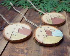 Geometric Mountains, Natural Christmas, Wood Slice Ornament, Handmade Christmas, Holiday Decor, Wood Burning Art, Rustic Tree Decor