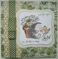 Cute fathers day card with Penny Black hedgehog.
