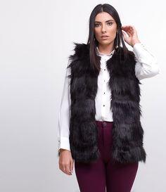Lojas online de roupas femininas Colete em Pelo Sintético