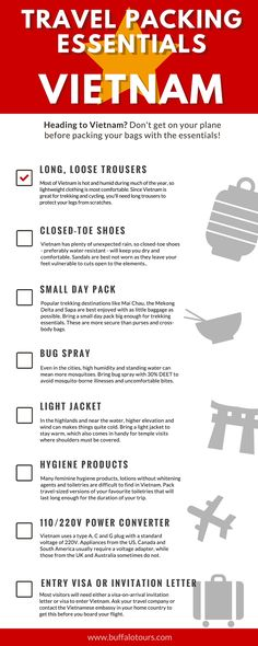 Heading to Vietnam? Check out our list of essential items for your trip. Or, head to our blog to find out what one of our tour guide's recommend to be in your suitcase.