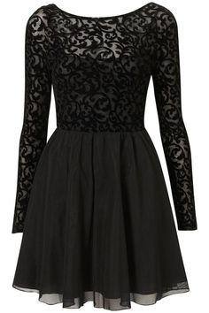 Short black dress with long sleeve lace top-half