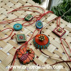 Rakhis Handmade Rakhi Designs, Handmade Design, Rakhi Cards, Rakhi Making, Terracotta Jewellery Designs, Silk Thread Bangles, Dj Booth, Clay Design, Clay Charms