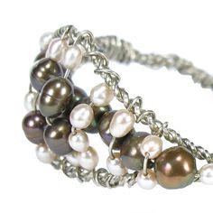 Pearl Cuff, Sterling Silver Wire Wrapped Bracelet, Bronze, Peach CFW | bohowirewrapped - Jewelry on ArtFire
