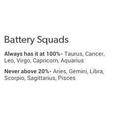 Zodiac Signs Battery Squads. Always has it at 100%: Taurus, Cancer Zodiac Sign♋, Leo, Virgo, Capricorn, Aquarius. Never above 20%: Aries, Gemini, Libra, Scorpio, Sagittarius, Pisces.