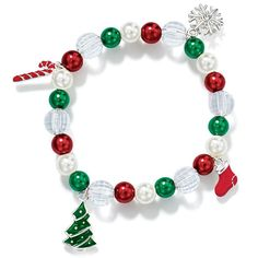 Stretch bracelet with faux pearls in white, green and red with enamel-look Christmas Tree, Candy Cane, Snowflake and Boot charms. Stretches to fit most wrist sizes. Imported.