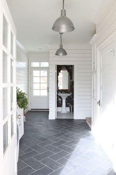 Farmhouse Kitchens, Black And White Pendants And Modern Farmhouse Kitchens.  Grey Tile Floor ...