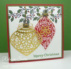Embellished Ornaments, Versatile Christmas, Delicate Ornament thinlits - Rebecca Scurr - Independent Stampin' Up! demonstrator - www.facebook.com/thepaperandstampaddict