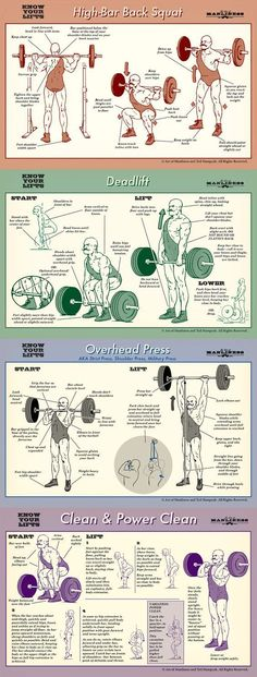 Know your lifts! Proper form for barbell squat, deadlift, overhead press and power clean. #EffectiveDeadliftExercises