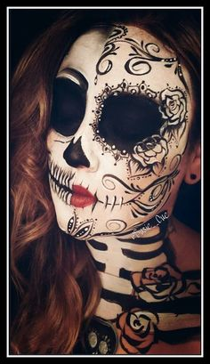 New Totally Free Easy DIY Halloween Costumes for Women - Gypsies Tips Day of the dead, dia de los muertos makeup, face paint, makeup, sugar skull Half Sugar Skull Makeup, Sugar Skull Face Paint, Diy Halloween Costumes, Halloween Face Makeup, Sugar Skull Halloween, Halloween Halloween, Vintage Halloween, Costume Ideas, Maquillaje Sugar Skull