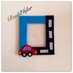 Renklİşler: KEÇE ÇERÇEVE-ARABA Photo Frame Crafts, Photo Craft, Foam Sheet Crafts, Crafts To Do, Crafts For Kids, Felt Pouch, Diy Magnets, Car Themes, Class Decoration