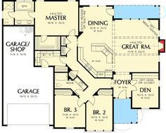 Charming Country Craftsman House Plan - 6930AM floor plan - Main Level
