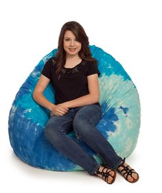 KingBeany Tie Dye Bean Bag Chairs are a blast from the past. They are the classic tied and dyed by hand bean bags. Large Bean Bag Chairs, Tie Dye, Blue, Design, Women, Fashion, Moda, Fashion Styles