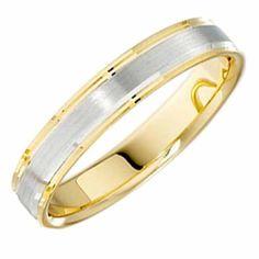 18ct Yellow & White Gold Wedding Ring Width 5mm