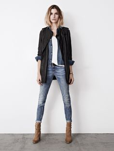 Denim look with leather jacket