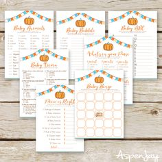 Pumpkin Baby Shower Game Printable Pumpkin baby shower game bundle - perfect for a fall themed baby shower!Pumpkin baby shower game bundle - perfect for a fall themed baby shower! Baby Trivia, November Baby, Baby Shower Fall, Baby Boy Shower, Fall Baby, Baby Shower Activities, Baby Shower Games, Aspen, Babyshower Games For Girls