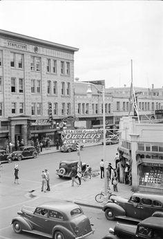 "1939 Photo, Billings, Montana, Downtown Street View, 17""x11"" Print, Historic"
