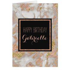 #gold - #Modern Faux Rose Gold Marble Swirl Monogram Card