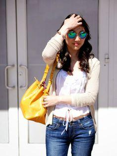 Mirror sunglasses, yellow bag