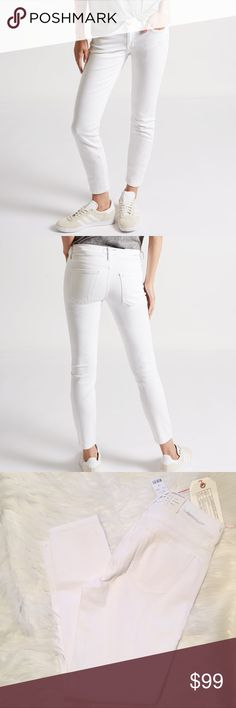 "1 hour sale⏰ Current Elliott Stiletto skinny jeans Brand new with all tags. Current/Elliott The Stiletto skinny jeans in white sugar cropped above the ankle to show off your shoes. 2% elastin. Size 28. 32"" waist. 8.5"" rise. 27.5"" inseam. Back rise 13"". 10.25"" thigh measured flat. Current/Elliott Jeans Skinny"