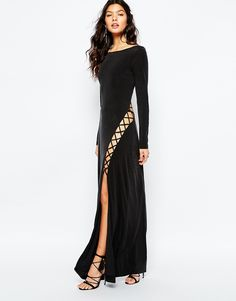 ce18f75f58 Shop The Jetset Diaries Novella Lace Up Maxi Dress in Black at ASOS.