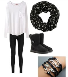 Cute outfits for teens. Ugg boots, black Ugg boots match with a cute cross patterned scarf. Cute infinity, love, anchor, and owl bracelets. Black leggings. I personally love how to boots and bracelets go so well together with the scarf (: #uggs