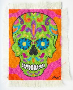 Each patch is about 3x4 inches, and instead of being presented on stretcher bars, the edges of the canvas are frayed.   facebook.com/AllisonWhtArtist  #sugarskull #diosdelosmuertos #art #craft #handcrafted #handsewn #handmade #stitched #needleandthread #needlepoint #sewn #sewing #crossstitch #patches #patch #femaleartists