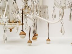 White Christmas Ornaments, White Felted Acorns, Rustic All Natural Decorations - 10