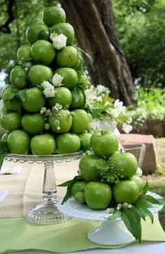 Cut back on floral cost.  Use fruit to create designer centrepieces.
