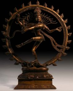 Indian Bronze Buddha Statue: Lord of the Dance. Shiva Nataraja, India. Ca. early 1900s. Siva Nataraja in the sacred dance of universal creation and destruction. For all cycles, all mortal lives and civilizations, all universes come into existence and come to an end. It is Shiva as Nataraja, who ignites the dissolution and creation of the universe at the beginning and end of cycles. His dance is dynamic and uncontrollably wild as he moves through the 108 forms and movements.