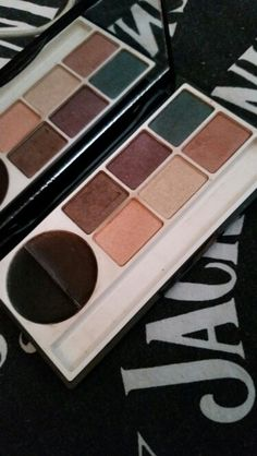 Victoria Jackson mystic eyes palette. Lost the brush.  Two shades are used, a few are swatched,  a couple I never touched. I never used the cream liners but eyeshadow dust got on them so I wiped the gunk off with a clean paper towel. Sanitized.