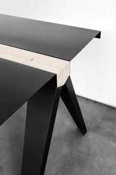 marco de masi designs volta, a table in steel and wood for officine tamborrino