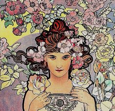 """Les Fleurs: The Rose (detail), from a set of four: The Rose, The Iris, The Carnation, and The Lily. by Alphonse Mucha, 1898. Colour lithograph; 101.6 x 41.3 cm (39 3/4 x 16 1/4"""") 