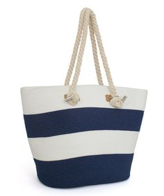 Look at this Navy & White Wide-Stripe Tote on #zulily today!